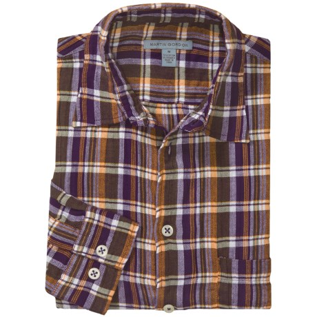 Martin Gordon Patterned Sport Shirt - Long Sleeve (For Men) in Purple/Yellow/Green