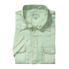 Martin Gordon Pigment- Dyed Linen Shirt - Short Sleeve (For Men) in Mist Green - Closeouts
