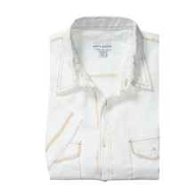 Martin Gordon Pigment- Dyed Linen Shirt - Short Sleeve (For Men) in White - Closeouts