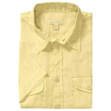 Martin Gordon Pigment- Dyed Linen Shirt - Short Sleeve (For Men) in Yellow - Closeouts