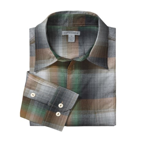Martin Gordon Plaid Flannel Sport Shirt - Cotton, Long Sleeve (For Men) in Blue