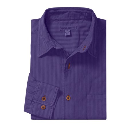 Martin Gordon Subtle Stripe Sport Shirt - Pigment-Dyed Corduroy, Long Sleeve (For Men) in Aubergine