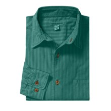 Martin Gordon Subtle Stripe Sport Shirt - Pigment-Dyed Corduroy, Long Sleeve (For Men) in Teal - Closeouts
