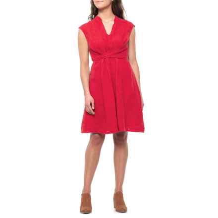 Martina Innocenti Made in Italy Red Mandarin Collar Linen Wrap Dress - Sleeveless (For Women) in Red - Closeouts