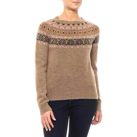 Martina Made in Italy Fair Isle Sweater - Crew Neck (For Women) in Brown - Closeouts