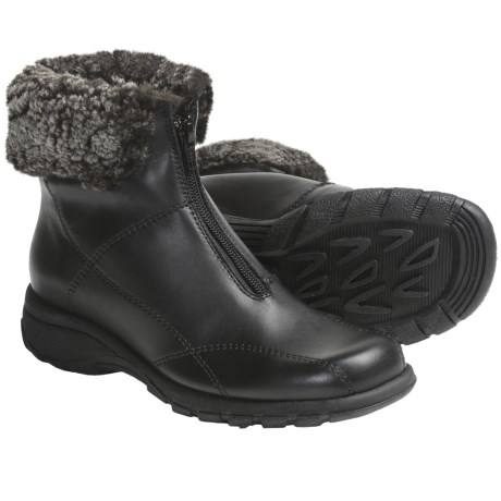 Martino Shearling Collar Boots - Waterproof, Leather (For Women) in Black