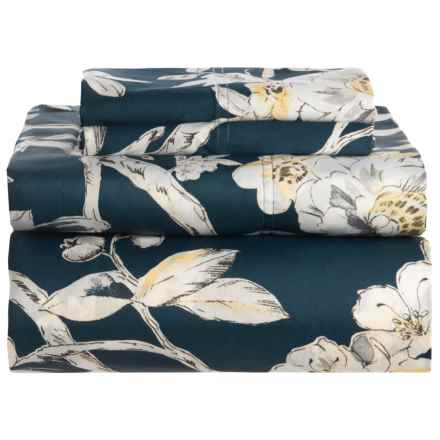 Marwah Navy Colmar Floral Sateen Cotton Sheet Set - Queen, 300 TC in Navy - Closeouts