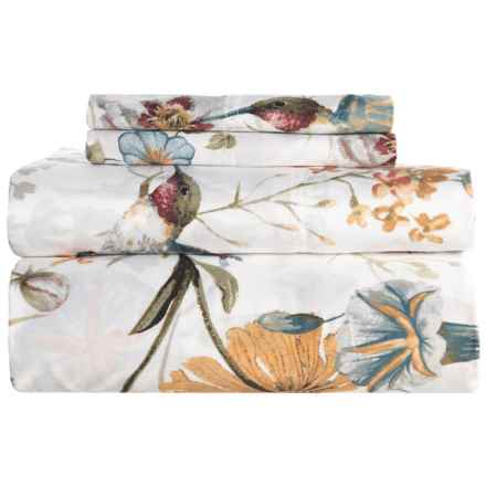 Marwah Red Amalfi Floral Sateen Cotton Sheet Set - Queen, 300 TC in Rose/Multi Red - Closeouts