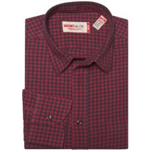 Mason's Brushed Cotton Mini-Check Shirt - Long Sleeve (For Men) in Red/Black - Closeouts
