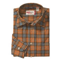 Mason's Brushed Cotton Plaid Sport Shirt - Long Sleeve (For Men) in Orange/Black