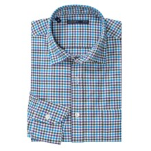 Mason's Brushed Cotton Small Glen Check Shirt - Long Sleeve (For Men) in Purple/Blue/Charcoal - Closeouts