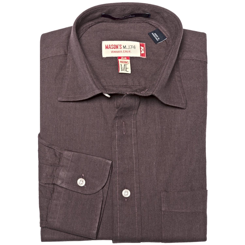 Mason s brushed cotton twill shirt long sleeve for men for Mason s men s shirts