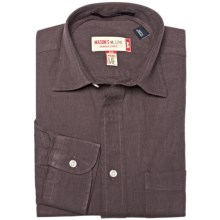 Mason's Brushed Cotton Twill Shirt - Long Sleeve (For Men) in Brown - Closeouts