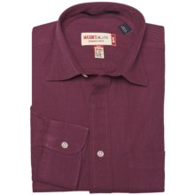 Mason's Brushed Cotton Twill Shirt - Long Sleeve (For Men) in Burgundy - Closeouts