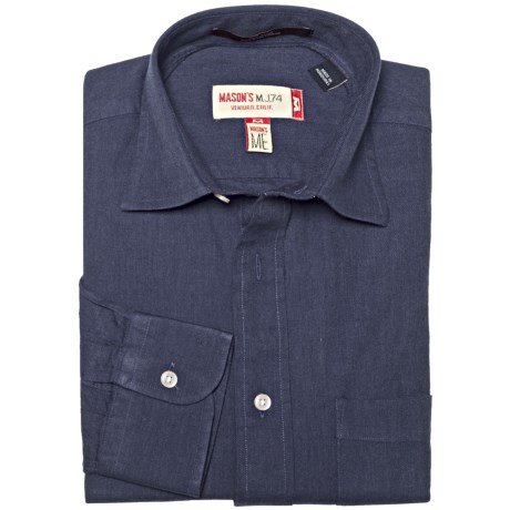 Mason's Brushed Cotton Twill Shirt - Long Sleeve (For Men) in Blue