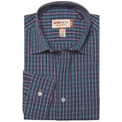 Mason's Cotton Multicolor Plaid Shirt - Long Sleeve (For Men) in Blue/Fushia