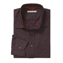 Mason's Cotton Stripe Sport Shirt - Long Sleeve (For Men) in Burgundy - Closeouts
