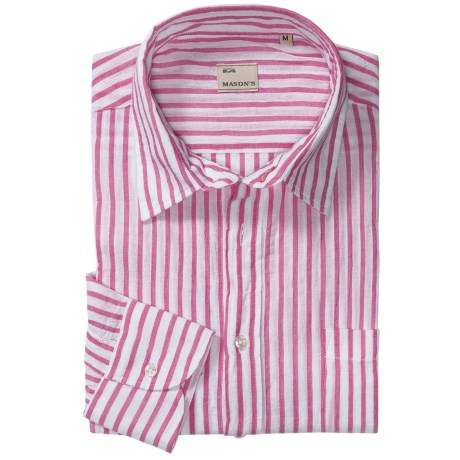 Mason's Cotton Stripe Sport Shirt - Long Sleeve (For Men) in Red/White