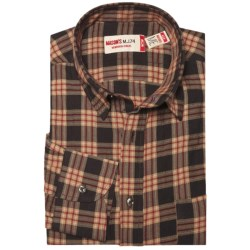 Mason's Crinkle Cotton Plaid Shirt - Long Sleeve (For Men) in Red/Black