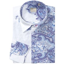 Mason's Italian Cotton Paisley Sport Shirt - Long Sleeve (For Men) in Navy Paisley - Closeouts