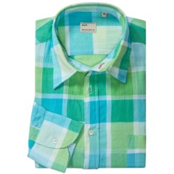 Mason's Italian Cotton Plaid Sport Shirt - Long Sleeve (For Men) in Mint Plaid