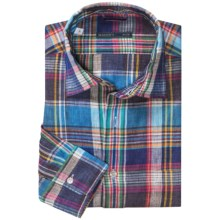 Mason's Linen Plaid Sport Shirt -  Long Sleeve (For Men) in Navy/Teal/Red/Yellow - Closeouts