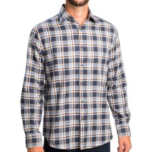 Mason's Plaid Sport Shirt - Spread Collar, Long Sleeve (For Men) in Blue/White/Brown - Closeouts