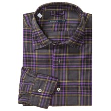 Mason's Brushed Cotton Plaid Shirt - Long Sleeve (For Men) in Grey/Purple/Yellow - Closeouts