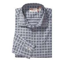 Mason's Check Trim Fit Sport Shirt - Cotton, Long Sleeve (For Men) in Denim/White - Closeouts