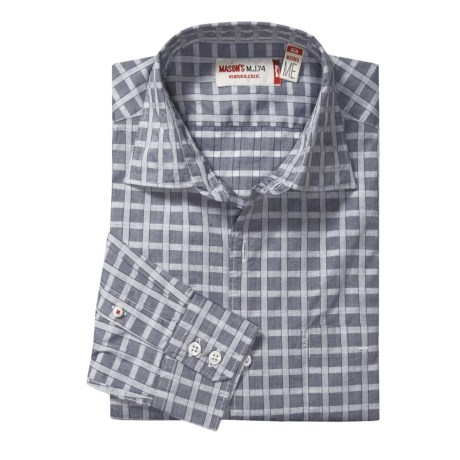 Mason's Check Trim Fit Sport Shirt - Cotton, Long Sleeve (For Men) in Denim/White