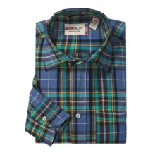Mason's Cotton Plaid Sport Shirt - Long Sleeve (For Men) in Blue/Teal - Closeouts