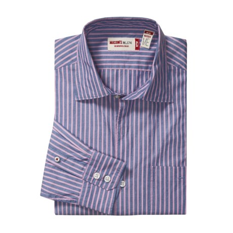 Mason's Cotton Stripe Sport Shirt - Trim Fit (For Men) in Navy/Pink