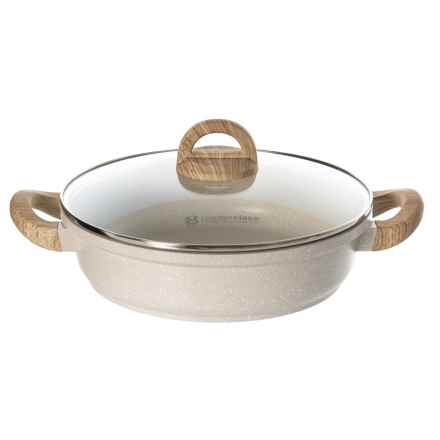 "Masterclass Cast Aluminum Speckle Low Casserole Skillet with Glass Lid - 11"" in Beige - Closeouts"