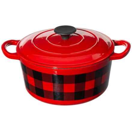 Masterclass Cast Iron Casserole Dish - Non-Stick Enamel, 3.5 qt. in Buffalo Check - Closeouts