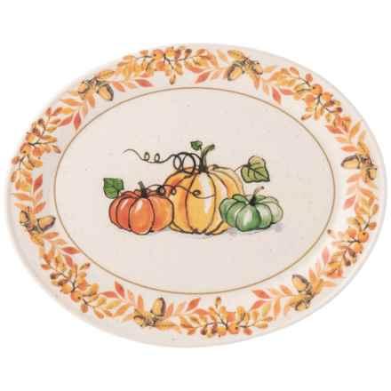 "Matceramica Thanksgiving Pumpkin Platter - 16x12"" in Multi - Closeouts"