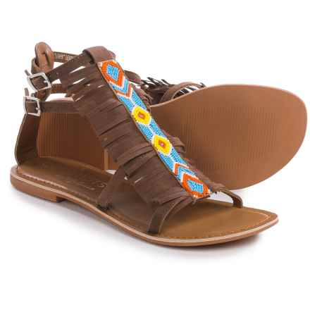 Matisse Lewis Beaded Gladiator Sandals - Leather (For Women) in Tan Suede - Closeouts