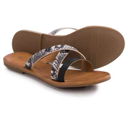 Matisse Murphy Crisscross Strap Sandals - Leather (For Women) in Black Snake Print Leather - Closeouts