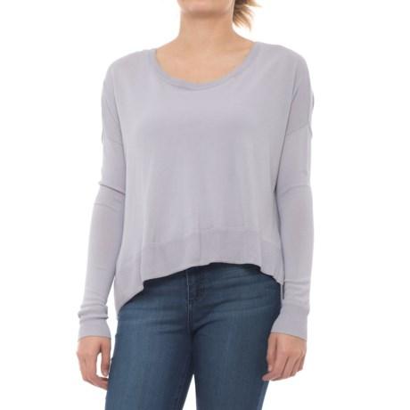 Maude Vivante Boxy Knit Shirt - Long Sleeve (For Women) in Grey