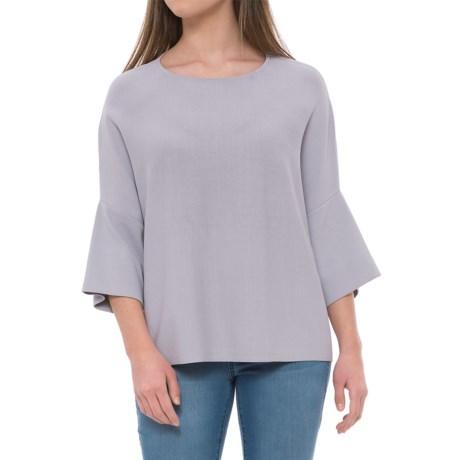 Maude Vivante Boxy Knit Shirt - Short Sleeve (For Women) in Dark Grey