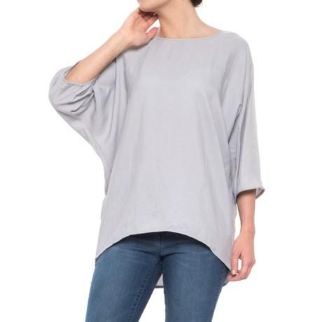 Maude Vivante Boxy Woven T-Shirt - Elbow Sleeve (For Women) in Dark Grey