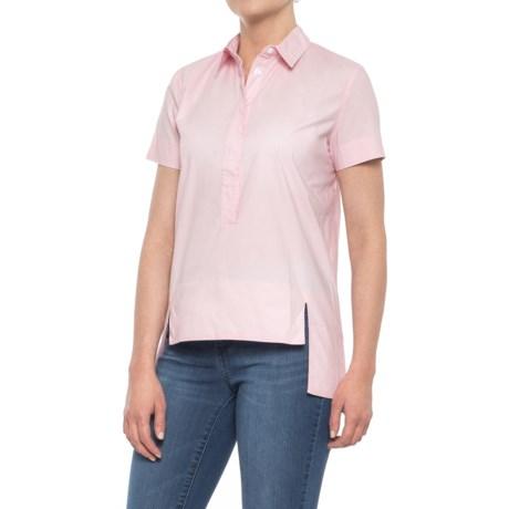 Maude Vivante Button Placket Woven Shirt - Short Sleeve (For Women) in Old Rose