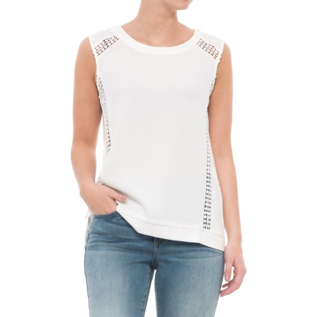 Maude Vivante Crochet Accent Shirt - Sleeveless (For Women) in Ivory