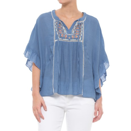 Maude Vivante Embroidered Peasant Shirt - Short Sleeve (For Women) in Blue