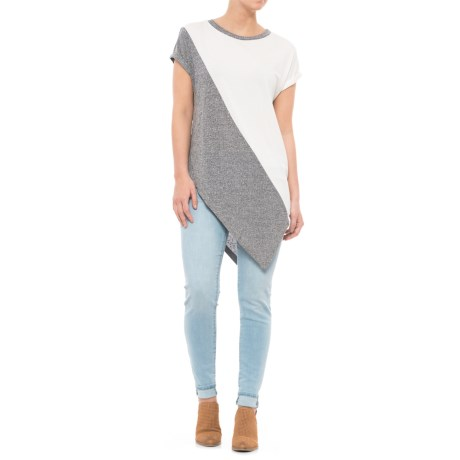 Maude Vivante Mixed Media Color-Block T-Shirt - Short Sleeve (For Women) in Ivory