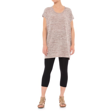 Maude Vivante T-Shirt Dress - Short Sleeve (For Women) in Beige