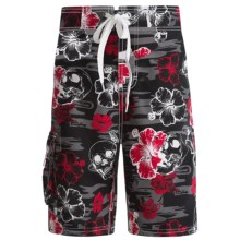 Maui Waves Draw Waist Swim Trunks - Built-In Brief (For Youth Boys) in Black Hibiscus - Closeouts