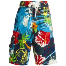 Maui Waves Draw Waist Swim Trunks - Built-In Brief (For Youth Boys) in Navy Hawaiian - Closeouts
