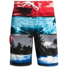Maui Waves Print E-Board Shorts (For Men) in Red Surf - Closeouts