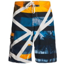 Maui Waves Print E-Board Shorts (For Men) in Yellow Palms - Closeouts