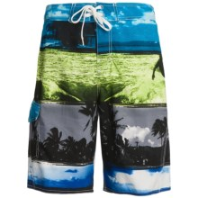 Maui Waves Print E-Board Shorts (For Men) in Yellow Surf - Closeouts